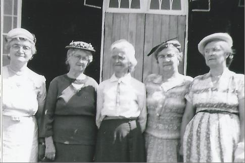 The White Sisters, Daughters of Edwin & Letitia Jane in front of Mount Pleasant United Church